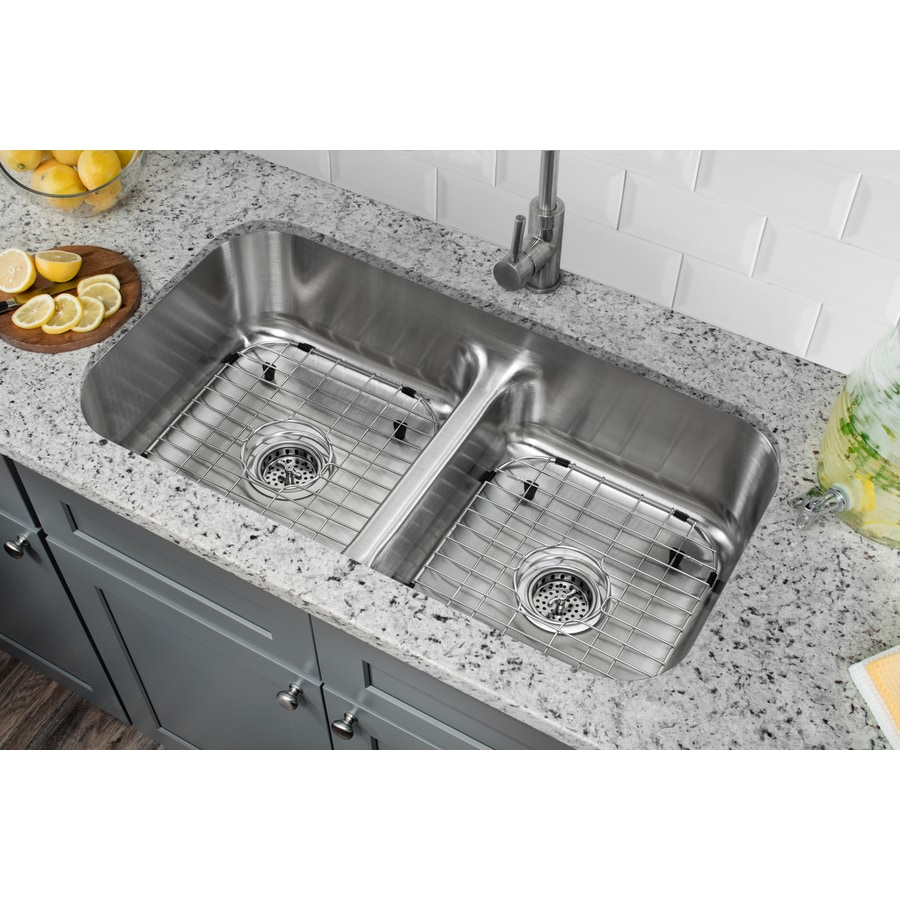 Superior Sinks 18.125-in x 32.5-in Brushed Satin Double-Basin Stainless Steel Undermount Residential Kitchen Sink