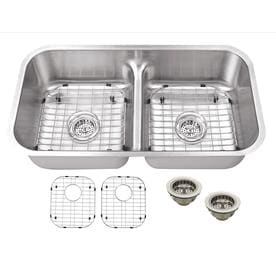 Superior Sinks 32 5 In X 18 125 Brushed Satin Double Basin Undermount Residential