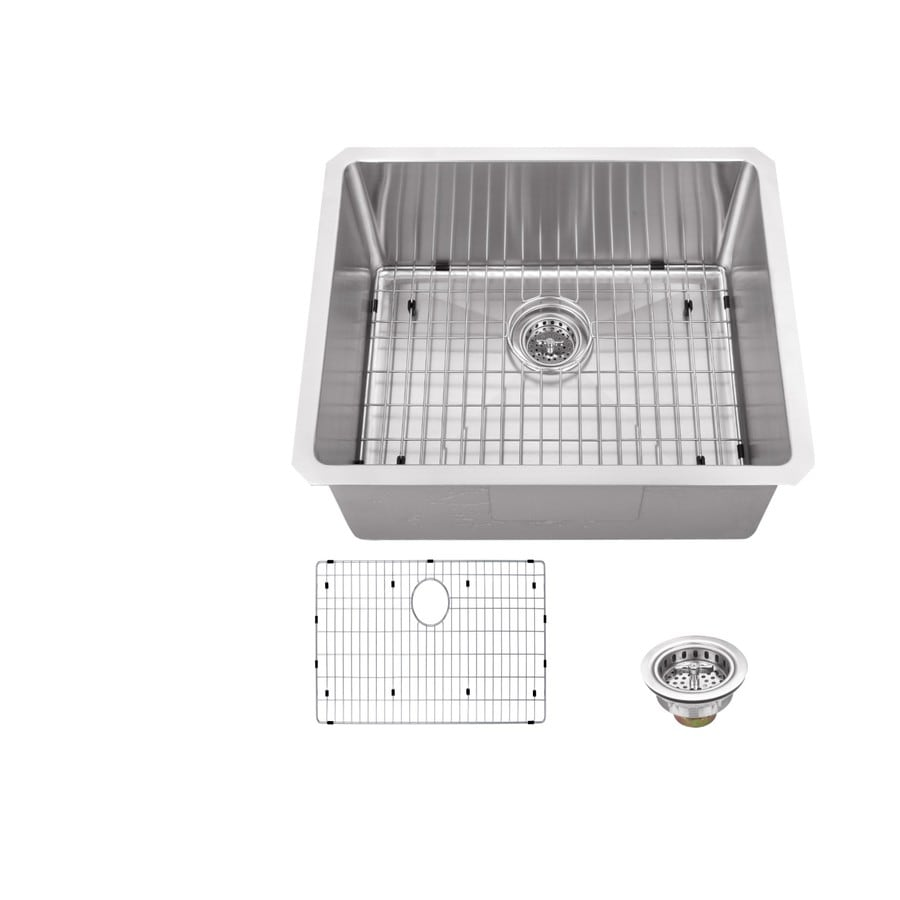 Superior Sinks 19-in x 23-in Brushed Satin Single-Basin-Basin Stainless Steel Undermount (Customizable)-Hole Residential Kitchen Sink
