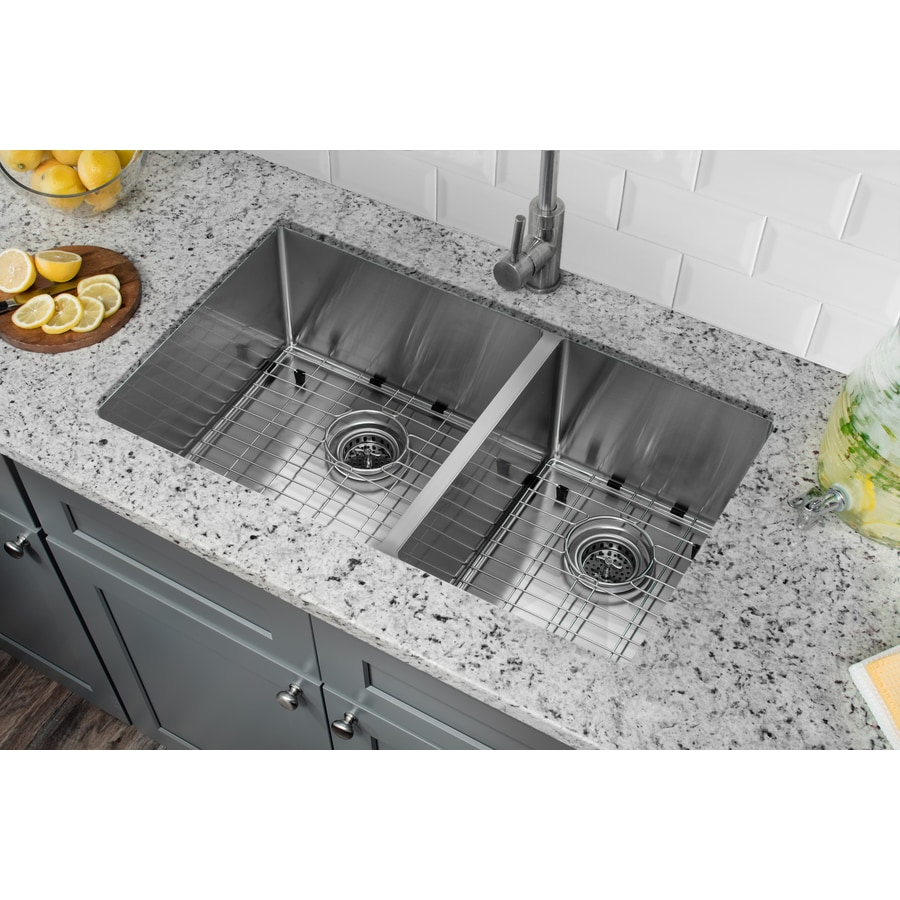 Superior Sinks 19-in x 32-in Brushed Satin Double-Basin Stainless Steel Undermount Residential Kitchen Sink