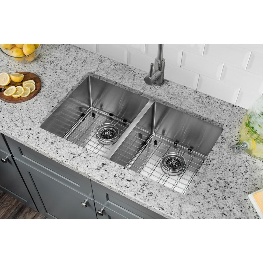 Superior Sinks 19-in x 32-in Satin Brush Stainless Steel Double-Basin Undermount Residential Kitchen Sink