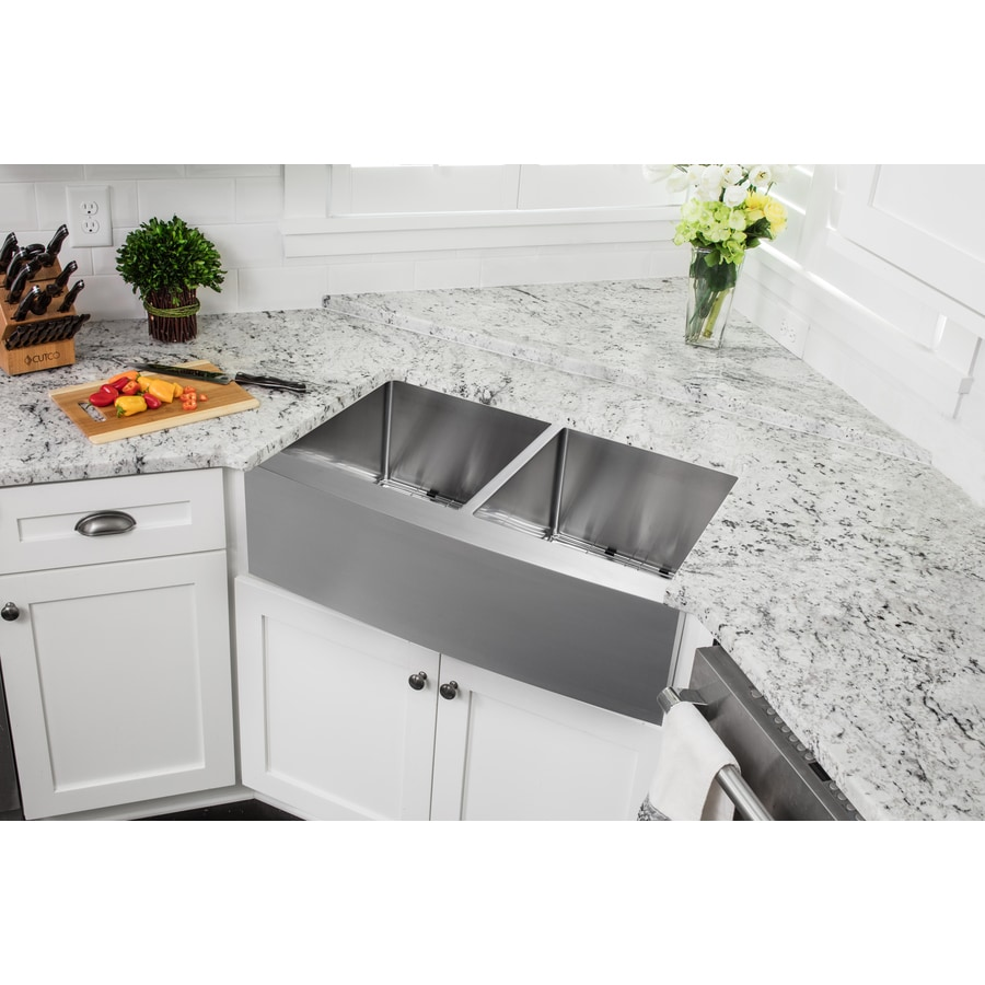 Superior Sinks 22.25-in x 32.825-in Satin Brush Stainless Steel Double-Basin Apron Front/Farmhouse Residential Kitchen Sink