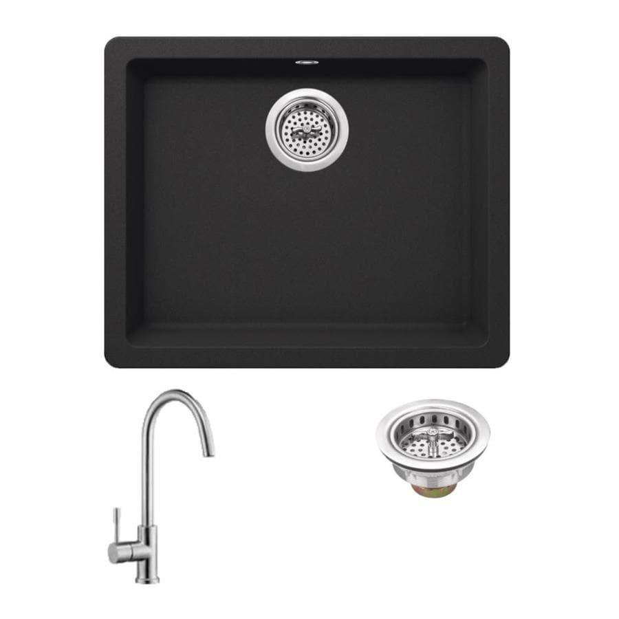Superior Sinks 21.65-in x 16.92-in Onyx Black Single-Basin Granite Drop-in Residential Kitchen Sink All-In-One Kit