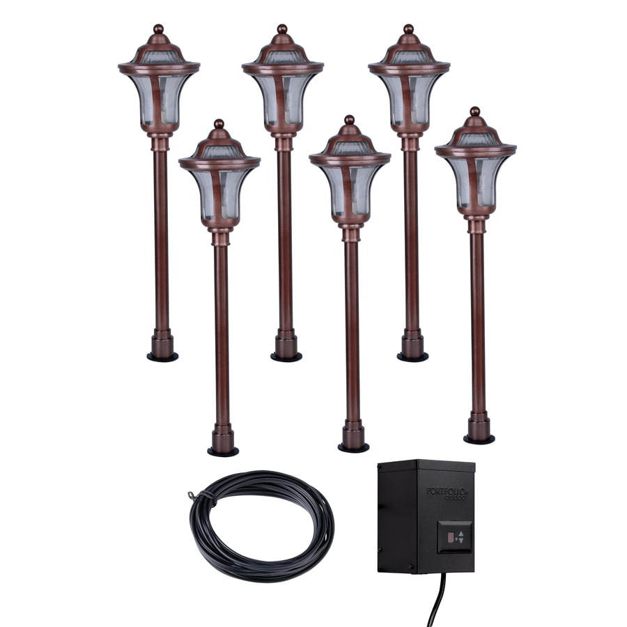 copper outdoor lighting farmhouse portfolio copper path light kit shop at lowescom