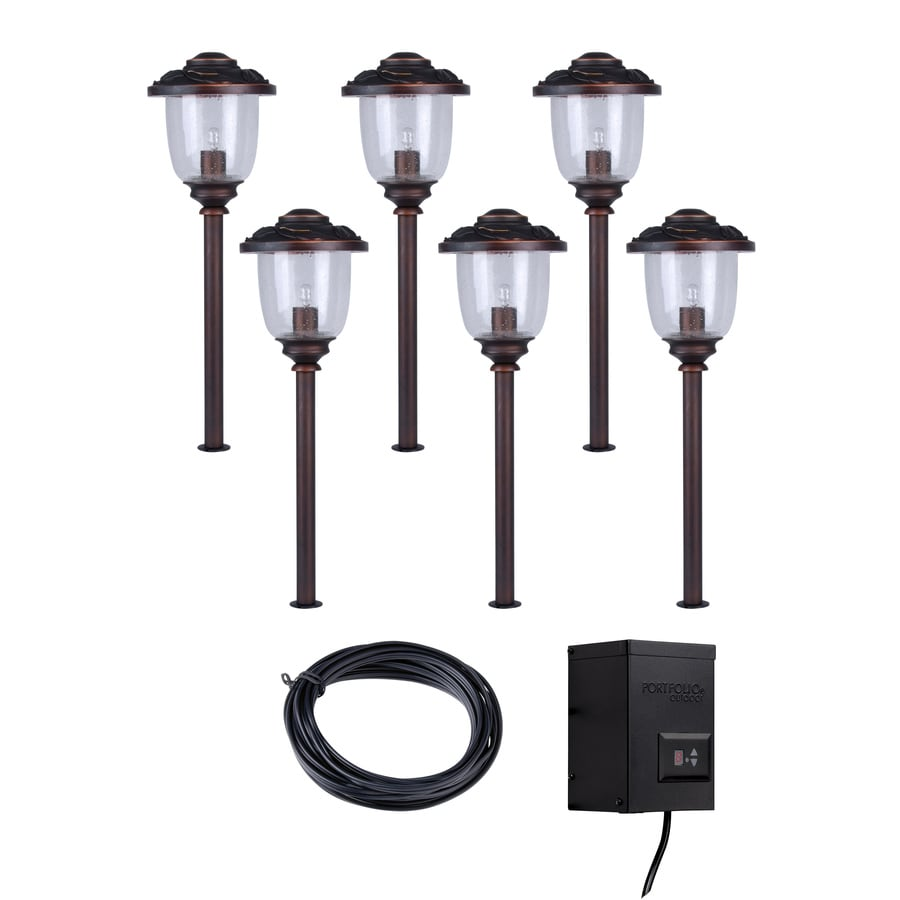shop portfolio bronze path light kit at lowes com