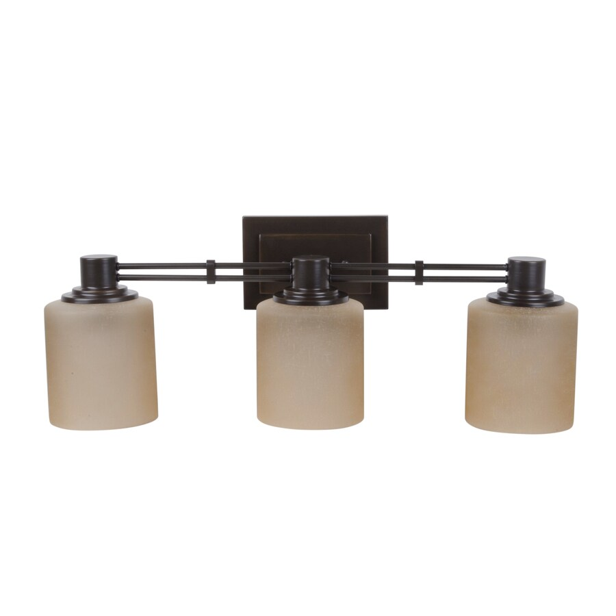 Shop Portfolio Lunenbeck 3 Light Oil Rubbed Bronze Cylinder Vanity Light At