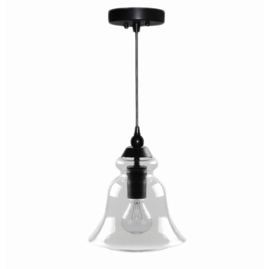 allen + roth 8-in Bronze Mini Clear Glass Pendant