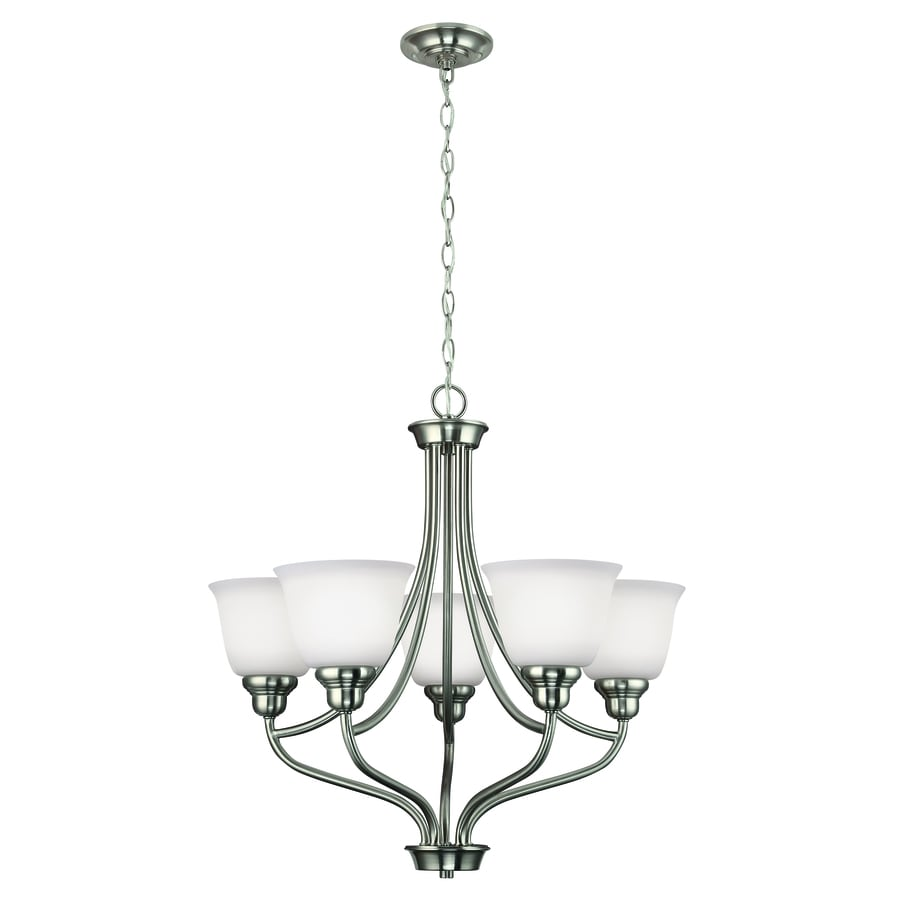 Project Source Bellrose 25-in 5-Light Brushed Nickel Hardwired Etched Glass Globe Standard Chandelier