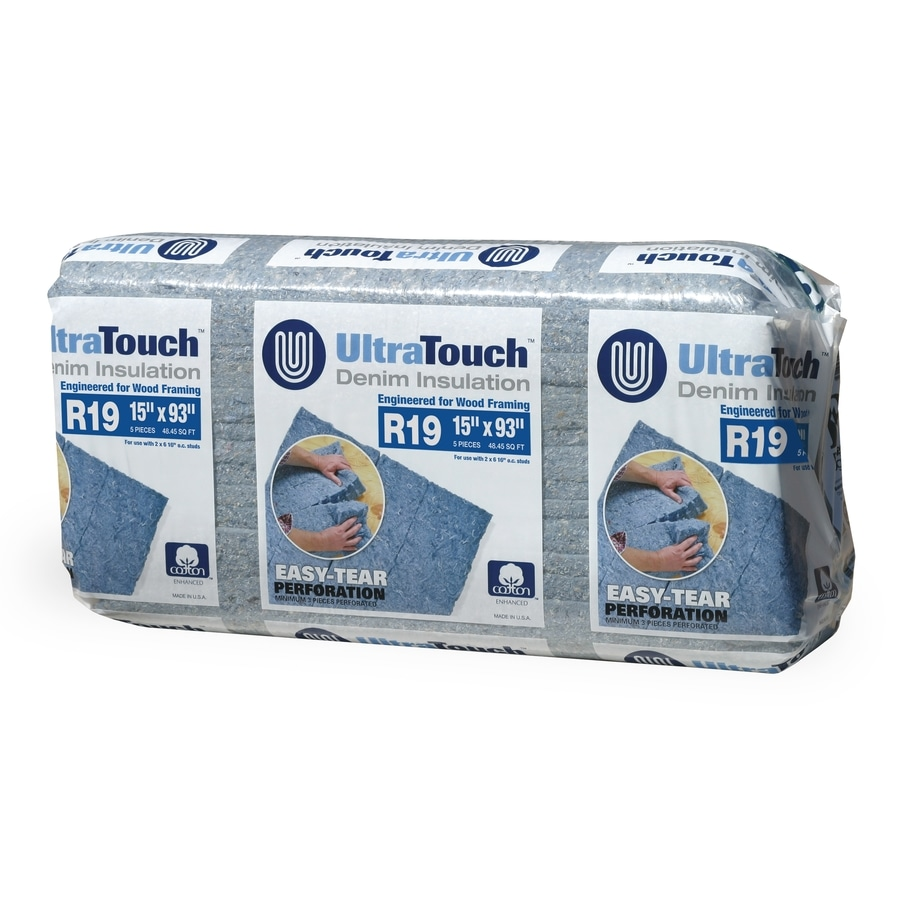 UltraTouch R 19 48.45-sq ft Unfaced Recycled Denim Batt Insulation with Sound Barrier (15-in W x 93-in L)