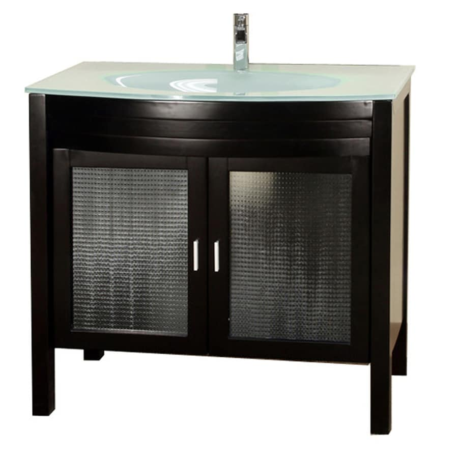 Bellaterra Home Dark Espresso Undermount Single Sink Bathroom Vanity with Tempered Glass and Glass Top (Common: 39-in x 22-in; Actual: 39.4-in x 22-in)