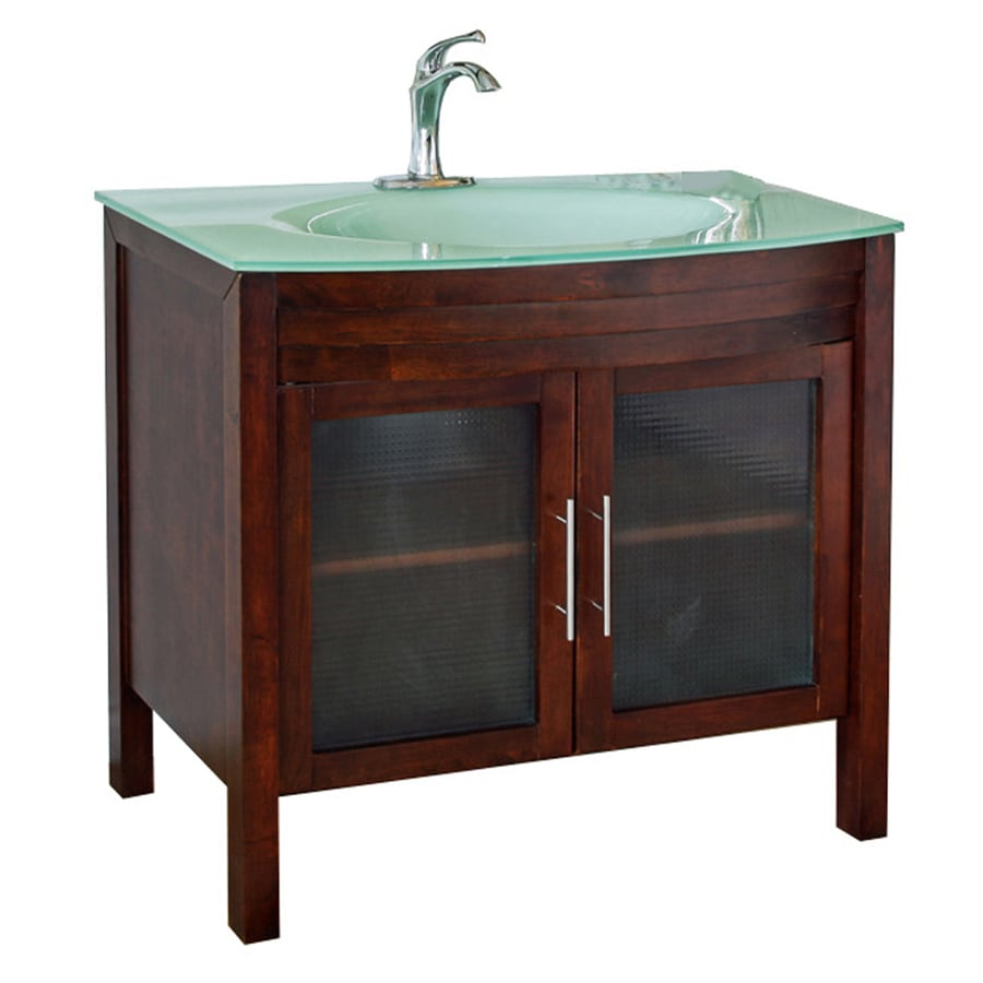 Bellaterra Home Medium Walnut 39.4-in Integral Single Sink Birch Bathroom Vanity with Tempered Glass and Glass Top