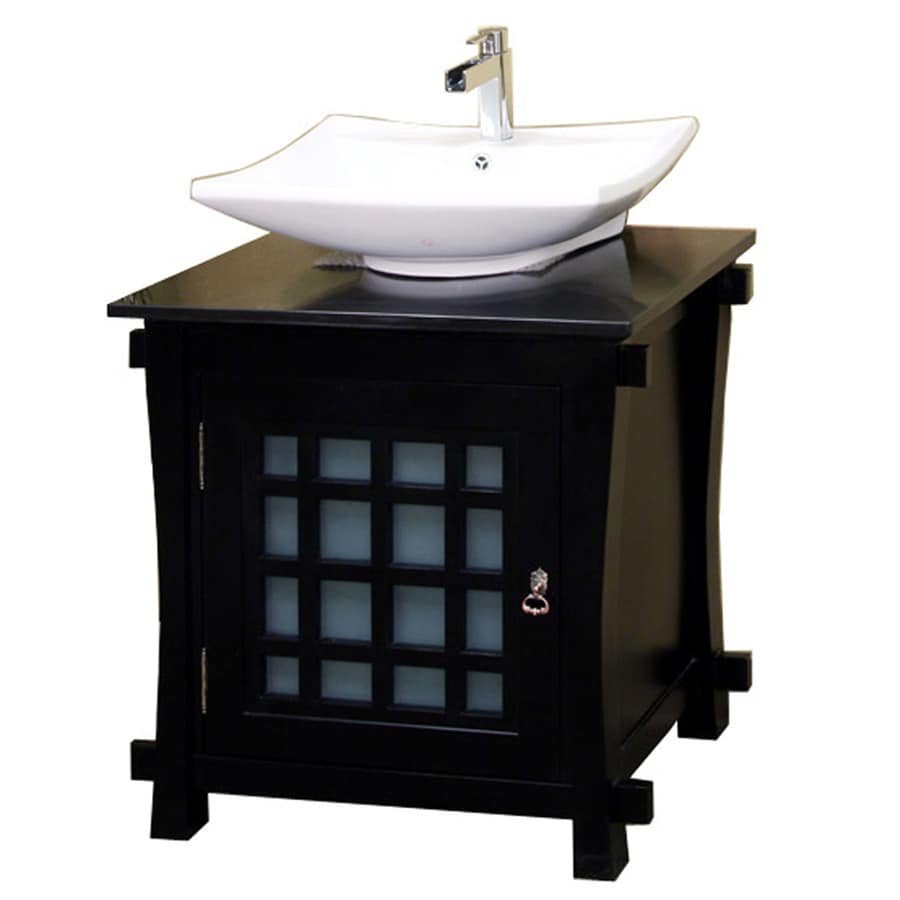 Shop Bellaterra Home Black Single Vessel Sink Bathroom Vanity With Natural Ma