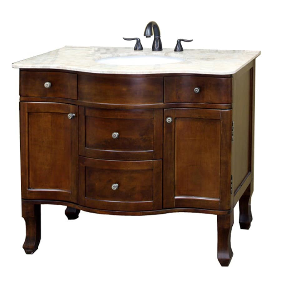 Shop bellaterra home medium walnut undermount single sink bathroom vanity with natural marble Marble top bathroom vanities