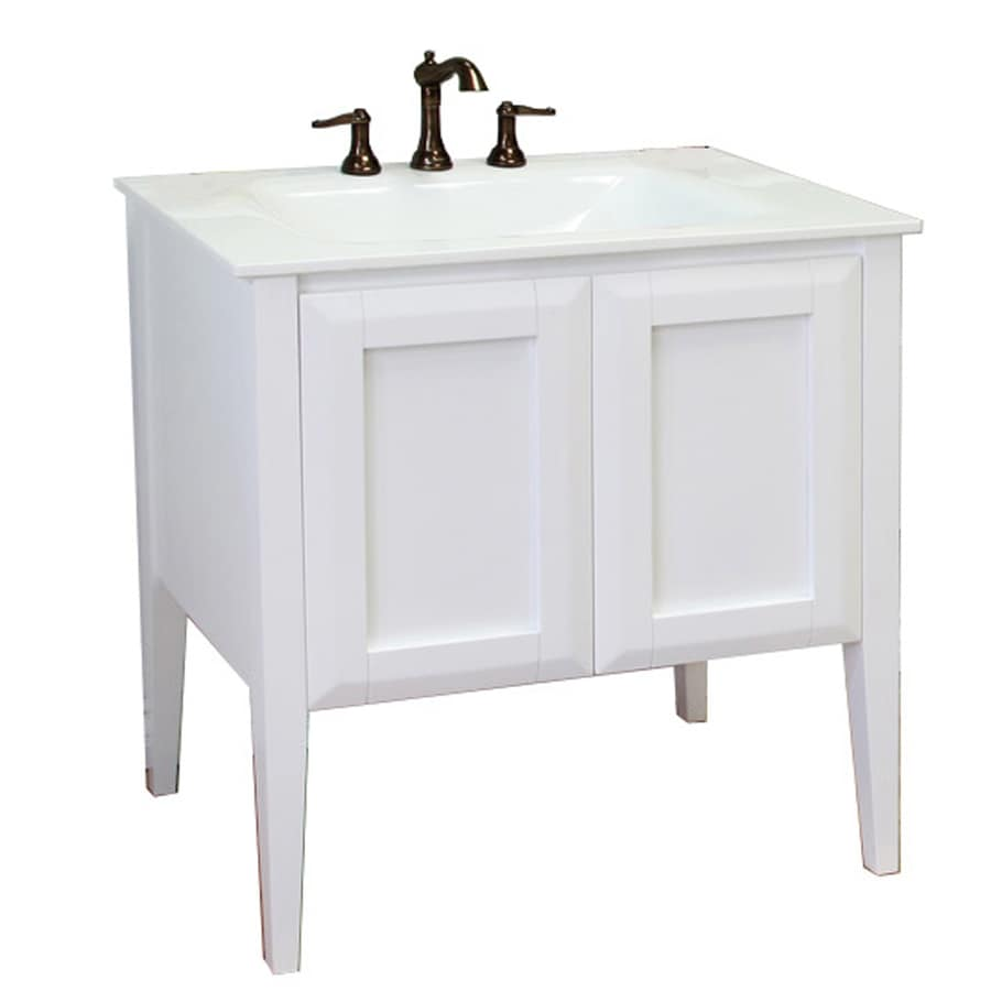 Bellaterra Home White Integrated Single Sink Bathroom Vanity with Natural Marble Top (Common: 33-in x 21-in; Actual: 33.5-in x 21.5-in)