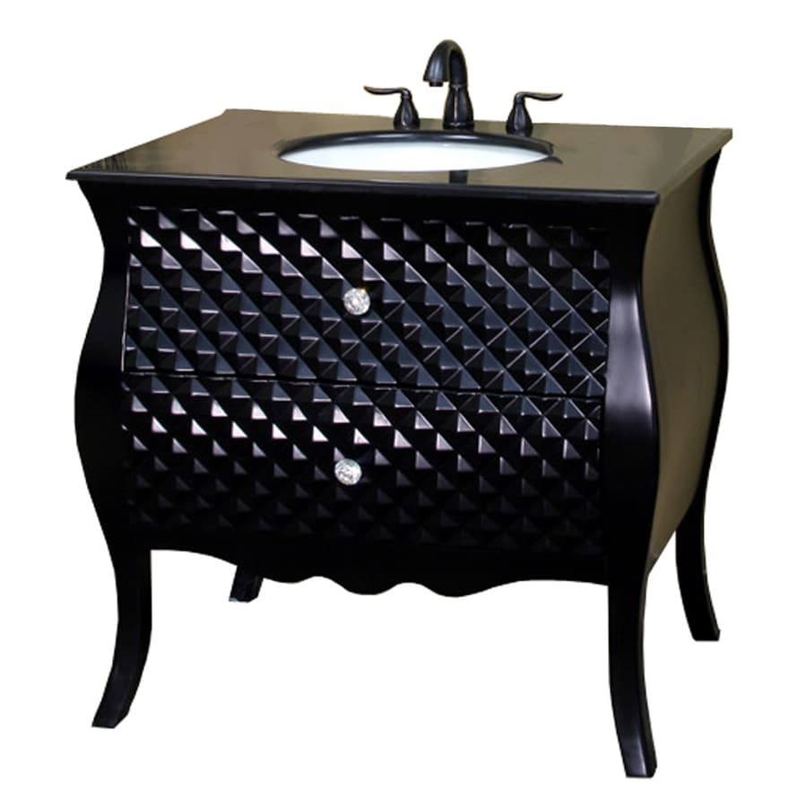 Bellaterra Home Black Undermount Single Sink Bathroom Vanity with Granite Top (Common: 35-in x 22-in; Actual: 35.4-in x 22-in)