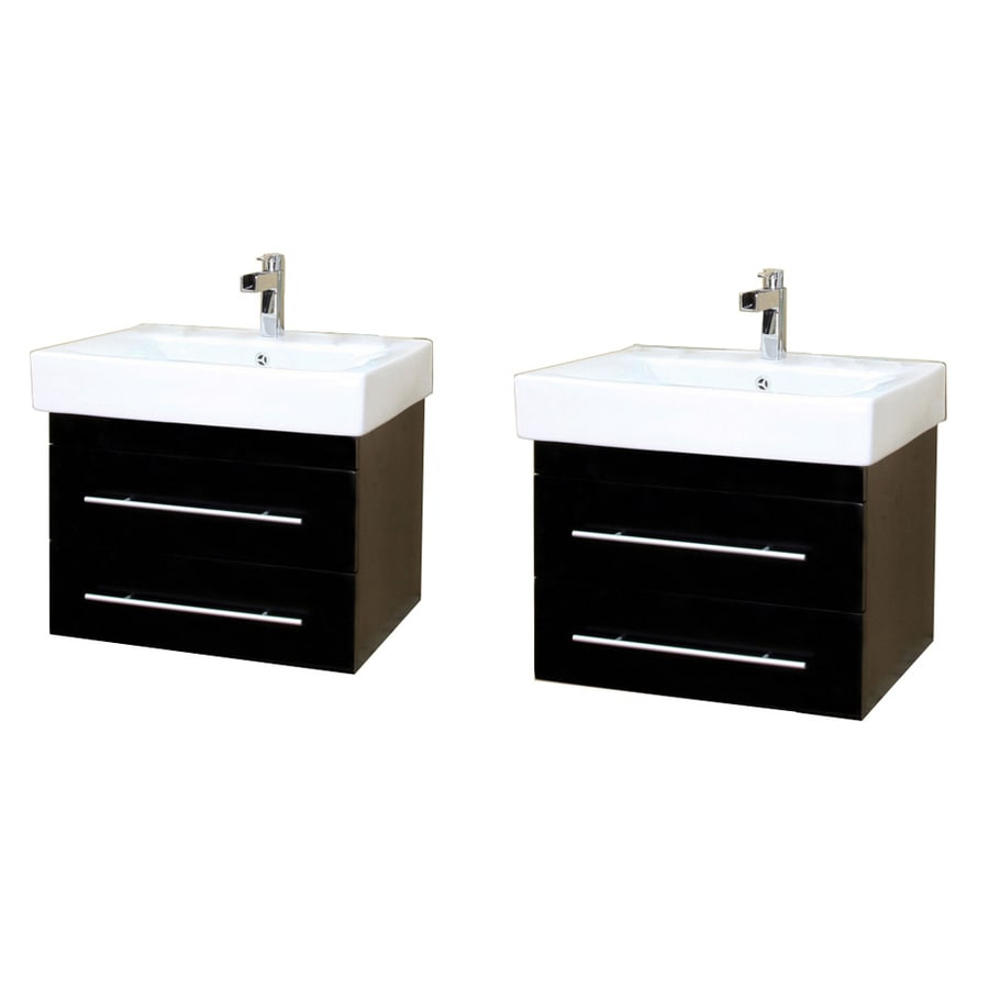 Bellaterra Home Black Integrated Double Sink Bathroom Vanity with Vitreous China Top (Common: 48-in x 18-in; Actual: 48.5-in x 18.9-in)