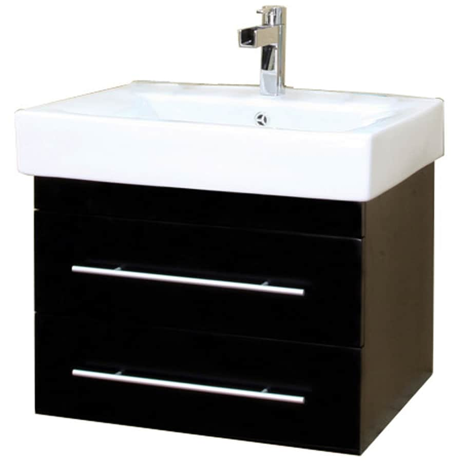 Bellaterra Home Black Integrated Single Sink Bathroom Vanity with Vitreous China Top (Common: 24-in x 18-in; Actual: 24.25-in x 18.9-in)