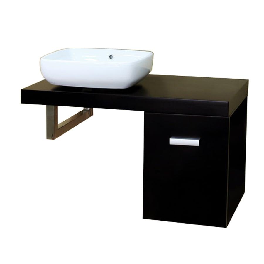 Bellaterra Home Black (Common: 35-in x 18-in) Vessel Single Sink Birch Bathroom Vanity with Wood Top (Actual: 35.4-in x 18.5-in)