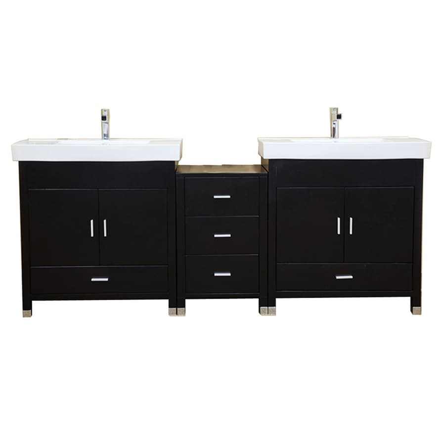 Bellaterra Home Black 80.7-in Integral Double Sink Birch Bathroom Vanity with Vitreous China Top