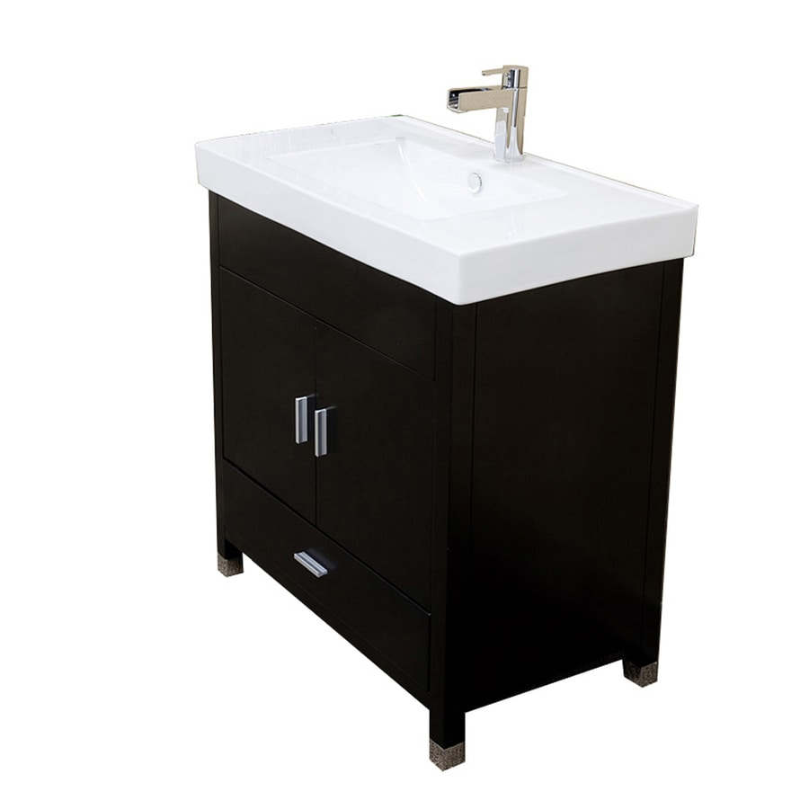 Bellaterra Home Black Integrated Single Sink Bathroom Vanity with Vitreous China Top (Common: 31-in x 18-in; Actual: 31.5-in x 18.9-in)