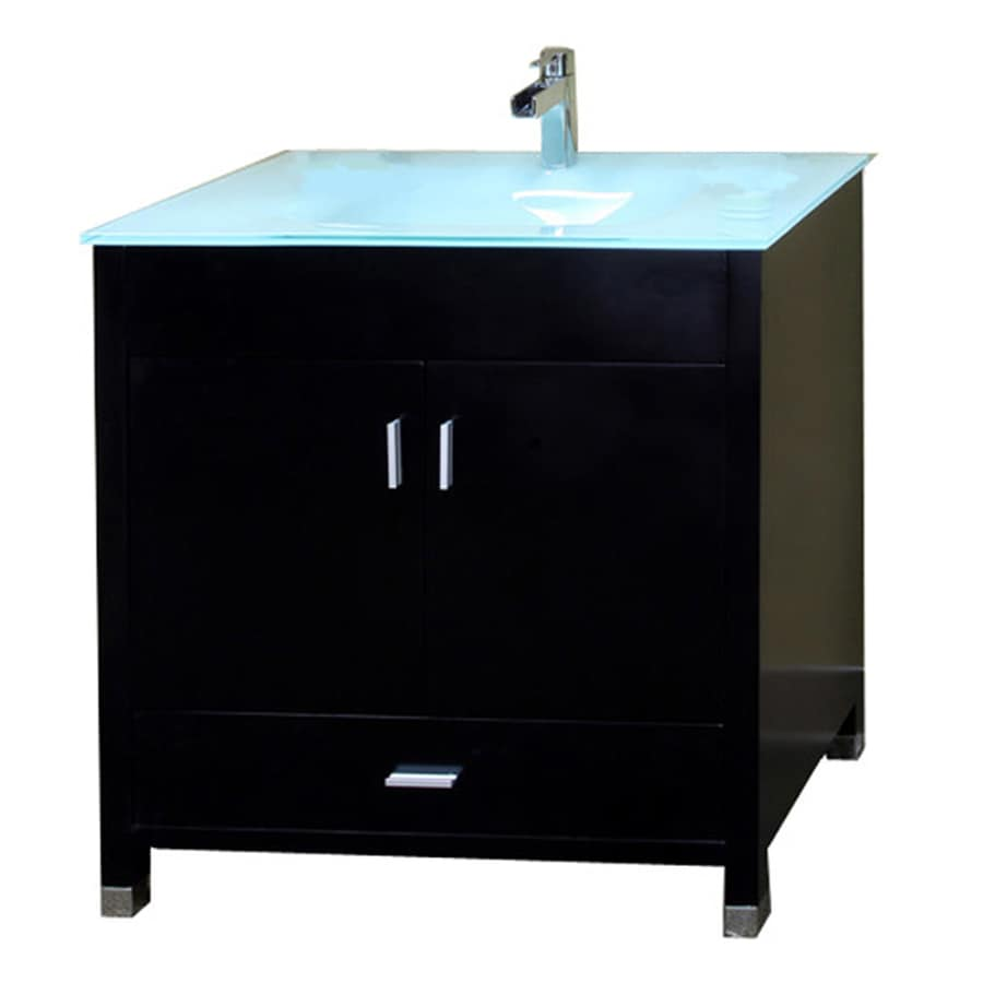 Bellaterra Home Black Integrated Single Sink Bathroom Vanity with Tempered Glass and Glass Top (Common: 32-in x 21-in; Actual: 32.3-in x 21.3-in)
