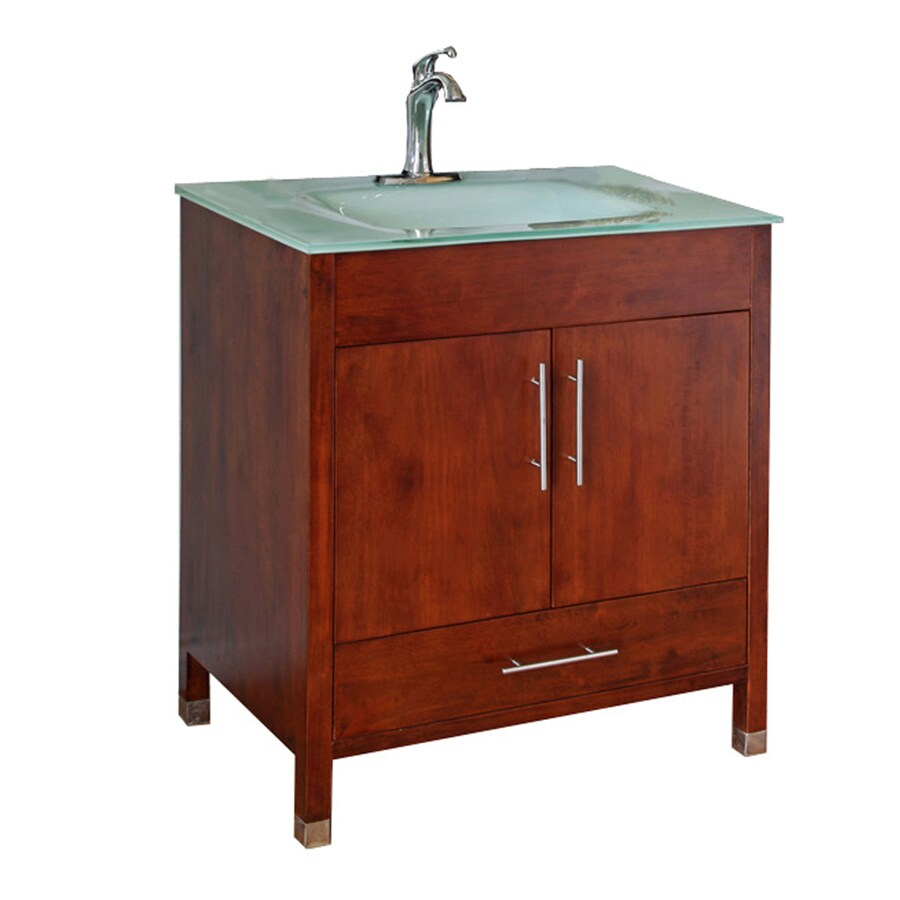 Bellaterra Home Medium Walnut 32.3-in Integral Single Sink Birch Bathroom Vanity with Tempered Glass and Glass Top