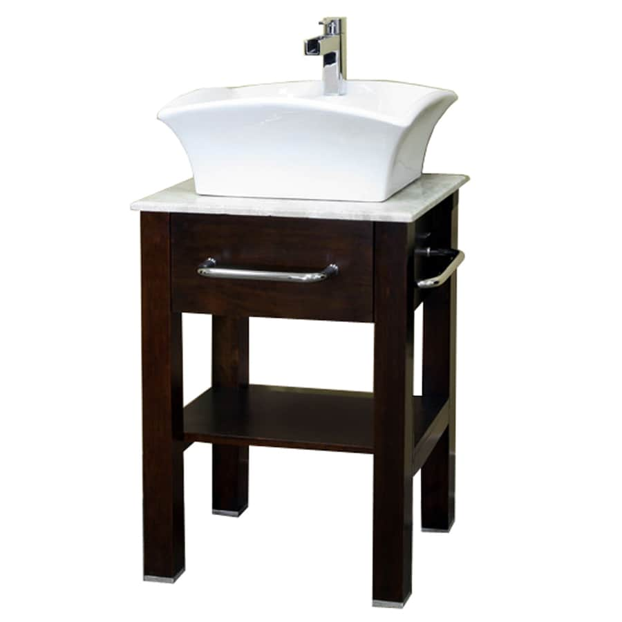 Bellaterra home medium walnut 24 2 in vessel single sink - Lowes single sink bathroom vanity ...