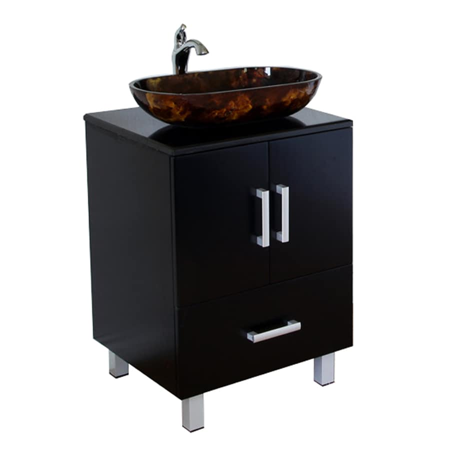 Shop bellaterra home black single vessel sink bathroom Black vessel bathroom sink