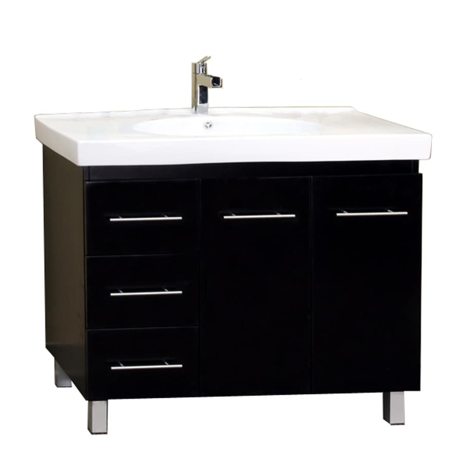 Bellaterra Home Black 39-in Integral Single Sink Birch Bathroom Vanity with Vitreous China Top