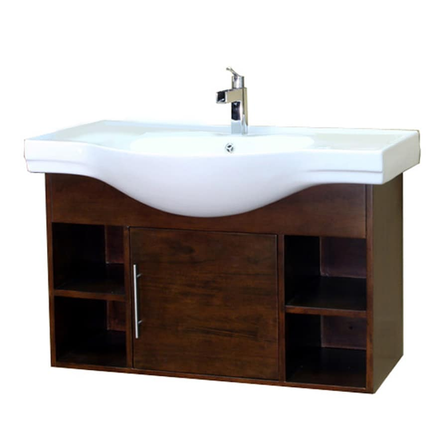 Bellaterra Home Medium Walnut 40.5-in Integral Single Sink Birch Bathroom Vanity with Vitreous China Top