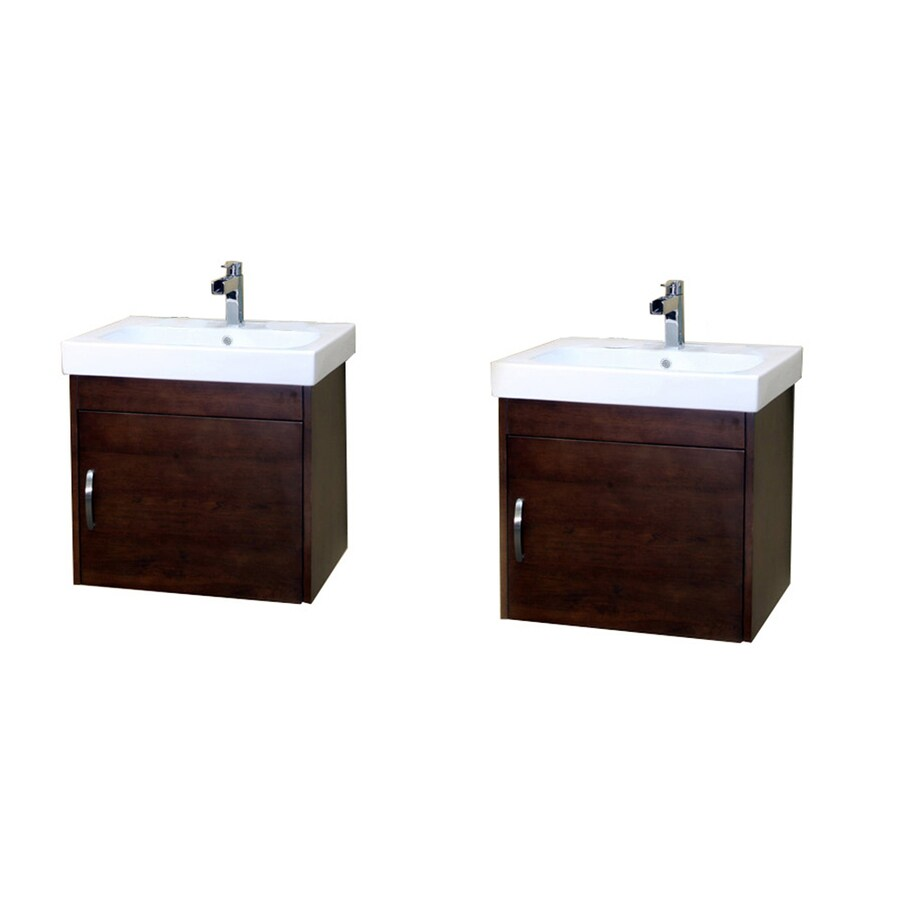 Bellaterra Home Medium Walnut (Common: 48-in x 19-in) Integral Double Sink Birch Bathroom Vanity with Vitreous China Top (Actual: 48.8-in x 19.5-in)