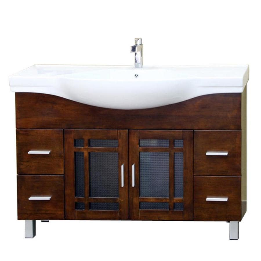Bellaterra Home Medium Walnut 48-in Integral Single Sink Birch Bathroom Vanity with Vitreous China Top