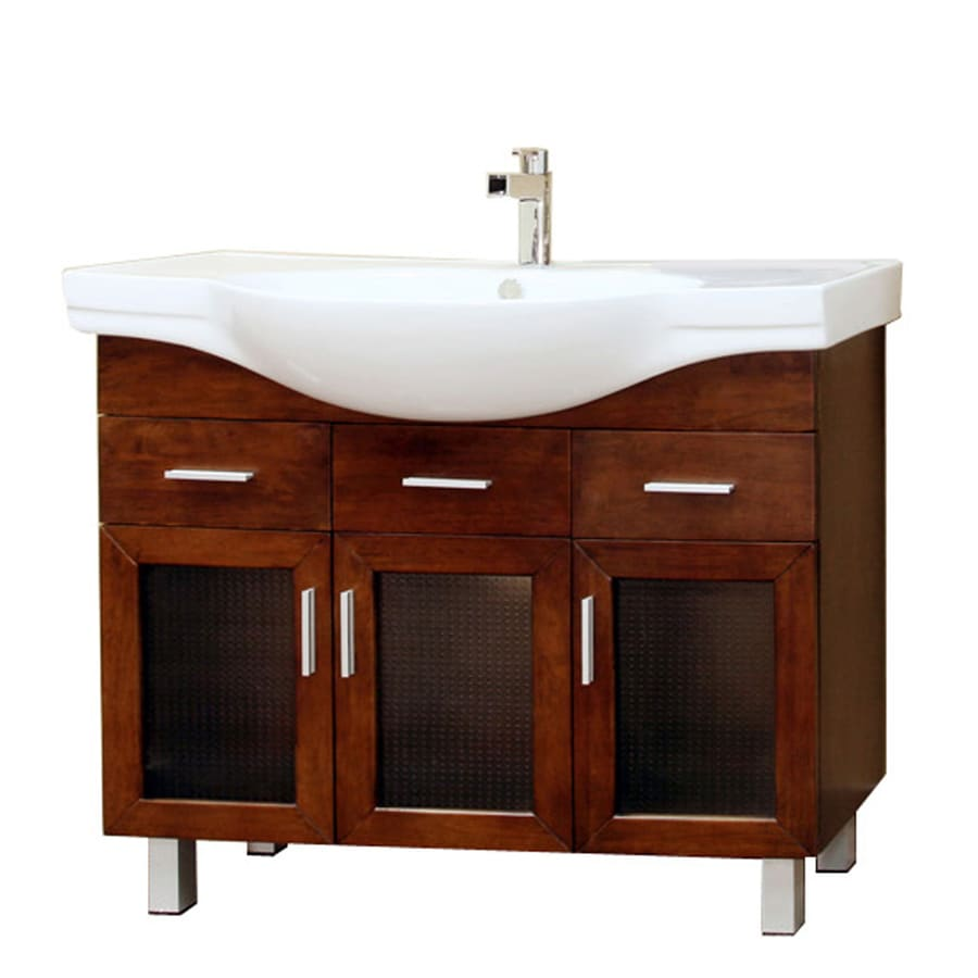 Bellaterra Home Medium Walnut Integrated Single Sink Bathroom Vanity with Vitreous China Top (Common: 39-in x 18-in; Actual: 39.8-in x 18.5-in)