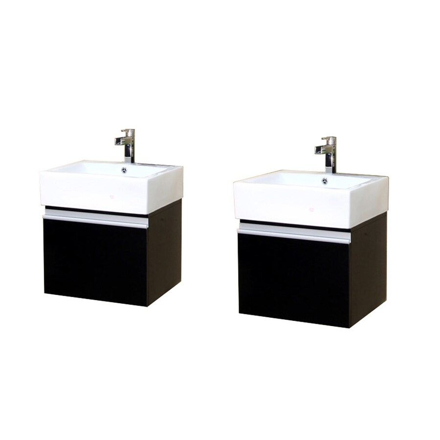 Bellaterra Home Dark Espresso (Common: 41-in x 16-in) Integral Double Sink Birch Bathroom Vanity with Vitreous China Top (Actual: 41-in x 16.5-in)