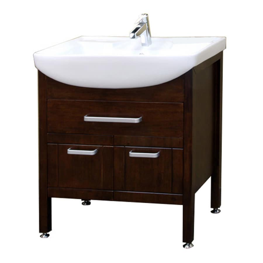 Bellaterra Home Medium Walnut 29.9-in Integral Single Sink Birch Bathroom Vanity with Vitreous China Top