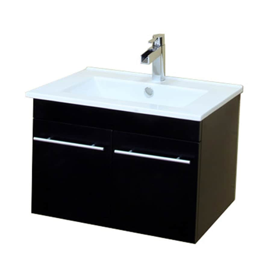 Shop Bellaterra Home Black Vanity With White Vitreous China Top (Common: 24-in X 18-in) At Lowes.com