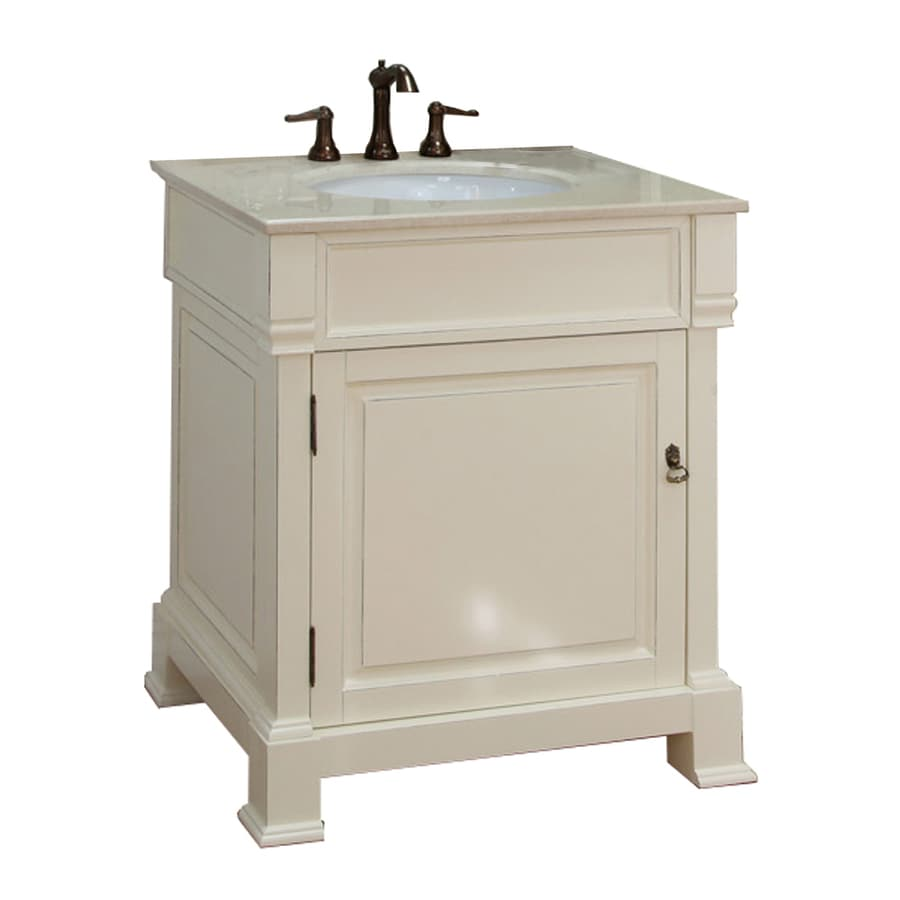 Bellaterra Home Cream White (Rub Edge) Undermount Single Sink Bathroom Vanity with Natural Marble Top (Common: 30-in x 22-in; Actual: 30-in x 22.5-in)