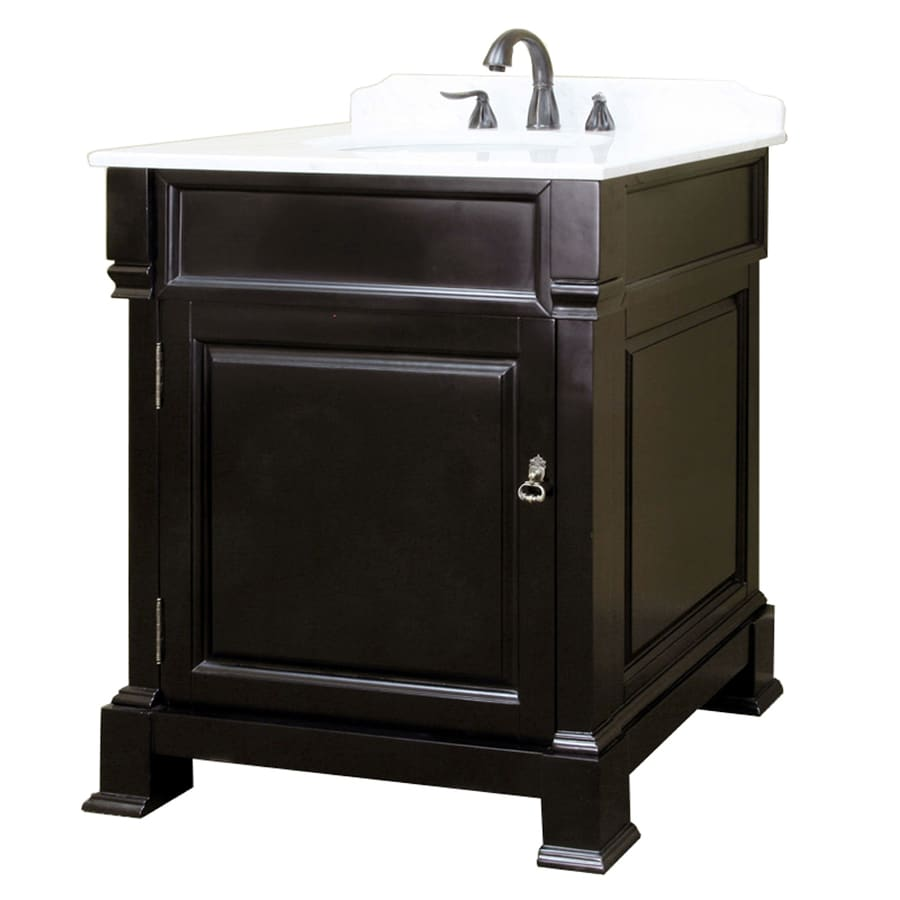 Bellaterra Home Espresso Undermount Single Sink Bathroom Vanity with Natural Marble Top (Common: 30-in x 22-in; Actual: 30-in x 22.5-in)