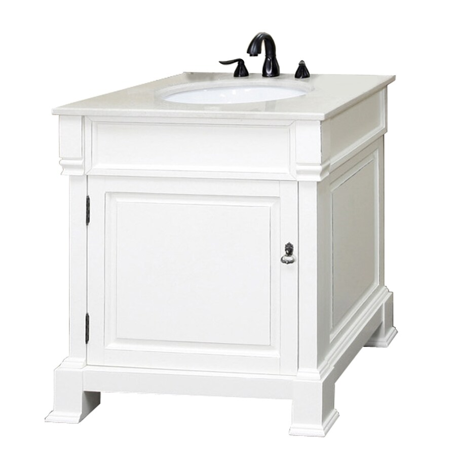 Bellaterra Home White (Rub Edge) 30-in Undermount Single Sink Birch Bathroom Vanity with Natural Marble Top