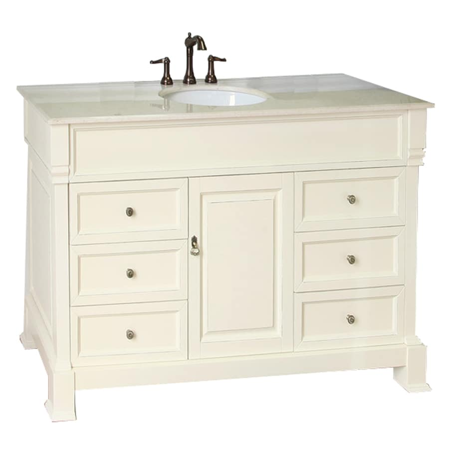 Bellaterra Home Cream White (Rub Edge) 50-in Undermount Single Sink Birch Bathroom Vanity with Natural Marble Top