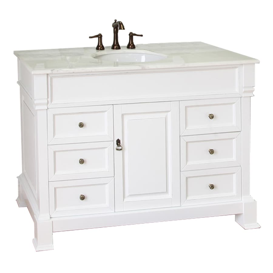 Bellaterra Home White (Rub Edge) Undermount Single Sink Bathroom Vanity with Natural Marble Top (Common: 50-in x 22-in; Actual: 50-in x 22.5-in)
