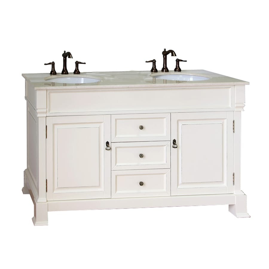 Bellaterra Home Cream White (Rub Edge) 60-in Undermount Double Sink Birch Bathroom Vanity with Natural Marble Top