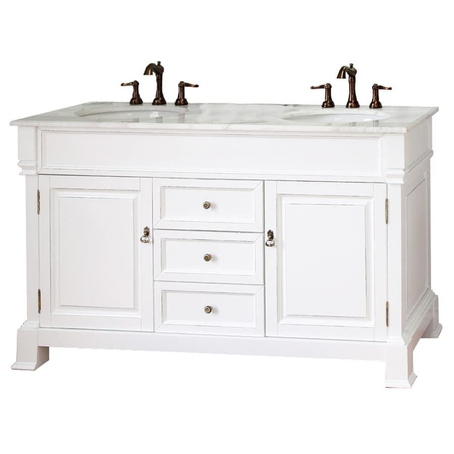 Bellaterra Home White Rub Edge Double Sink Vanity With Natural Marble Top