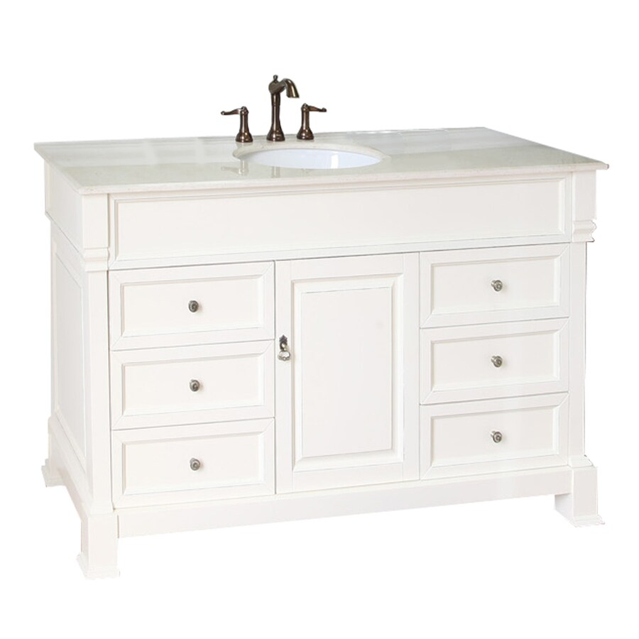 Bellaterra Home Cream White Rub Edge Single Sink Vanity With Natural Marble Top