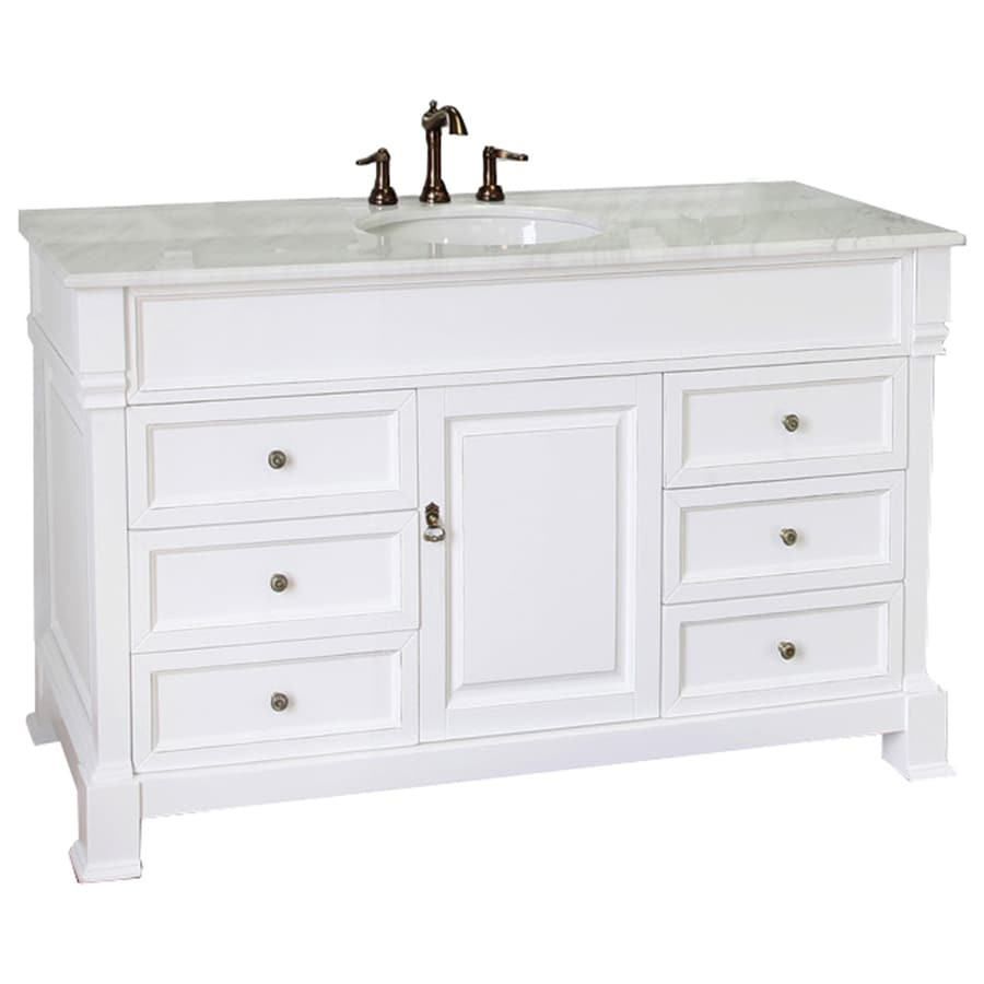 Bellaterra Home White Rub Edge Single Sink Vanity With Natural Marble Top