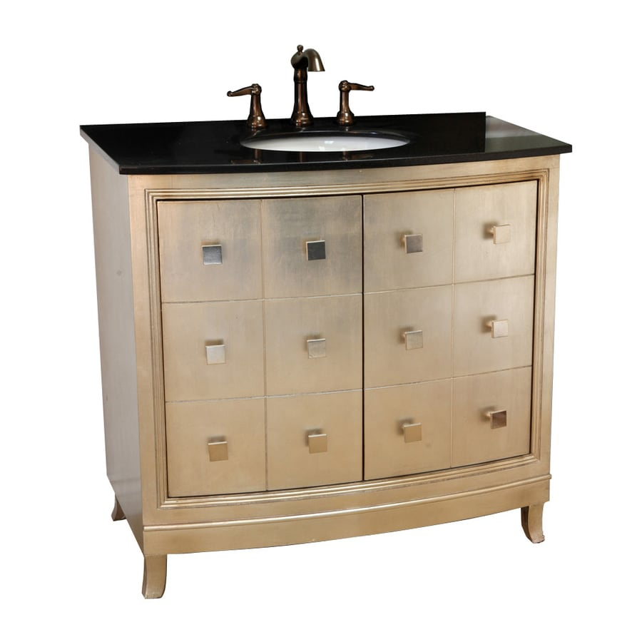 Shop Bellaterra Home Silver Single Sink Vanity With Black Galaxy Granite Top Common 36 In X 22