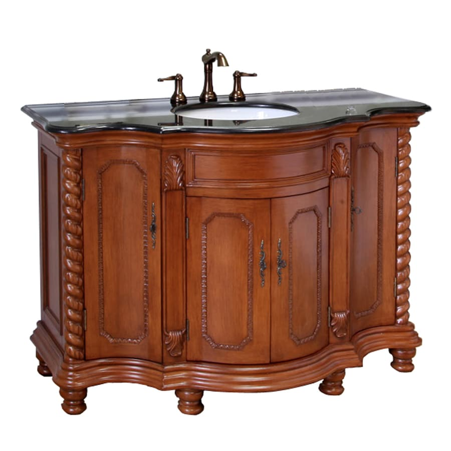 Shop bellaterra home light walnut undermount single sink for Granite bathroom vanity