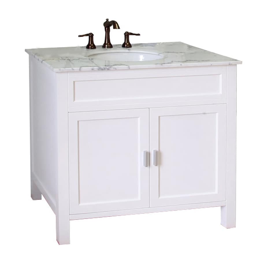 bellaterra home 36 in white single sink bathroom vanity with white rh lowes com bathroom cabinets with marble top 24 bathroom vanity with marble top