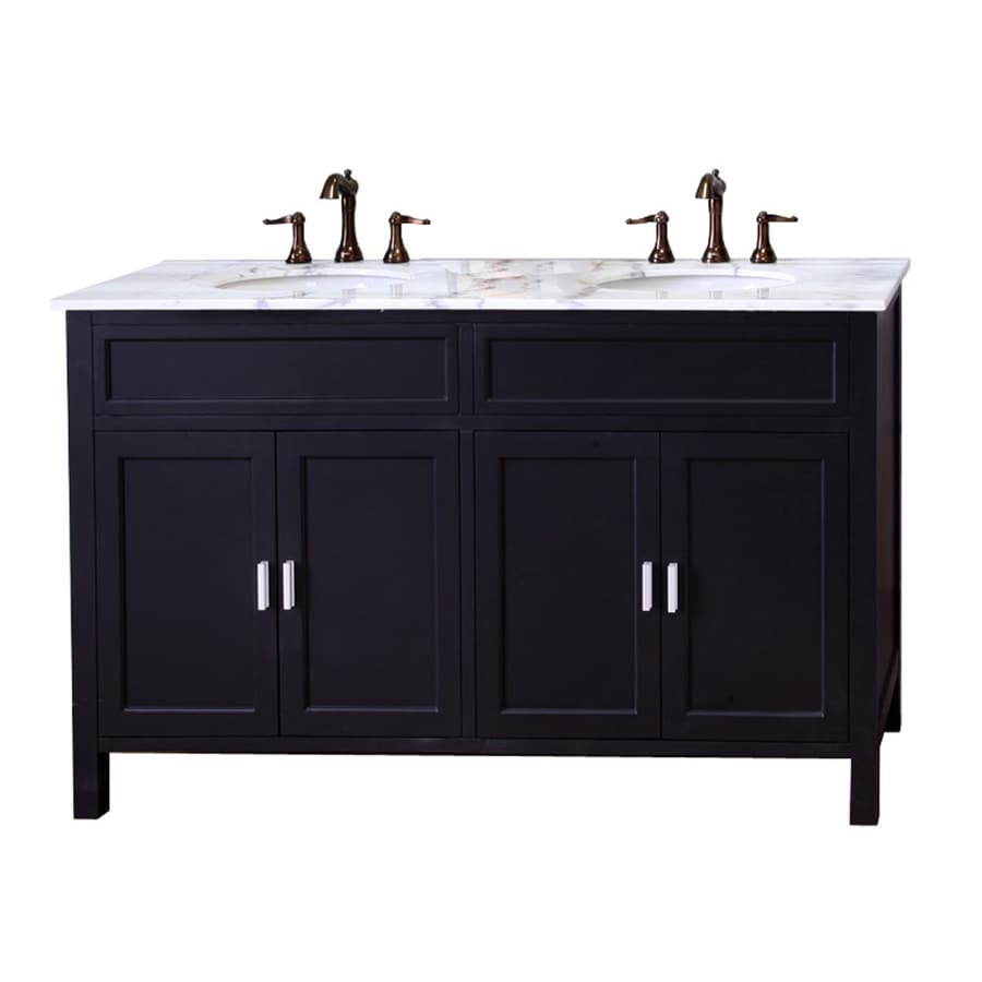 Shop bellaterra home ebony undermount double sink bathroom vanity with natural marble top Lowes bathroom vanity and sink