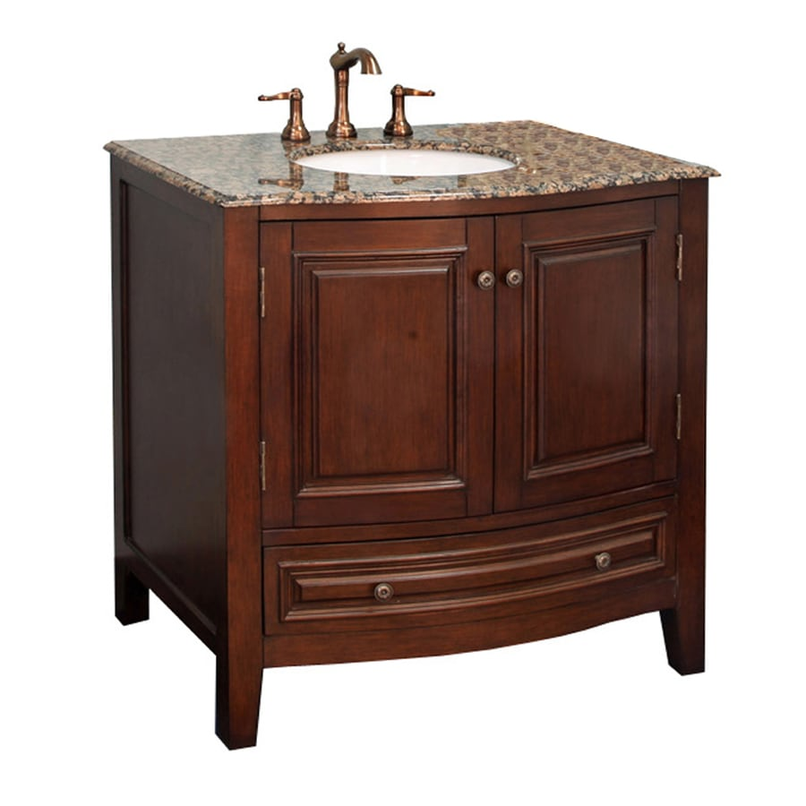 Bellaterra Home Dark Walnut (Common: 36-in x 22-in) Undermount Single Sink Birch Bathroom Vanity with Natural Marble Top (Actual: 36-in x 22-in)